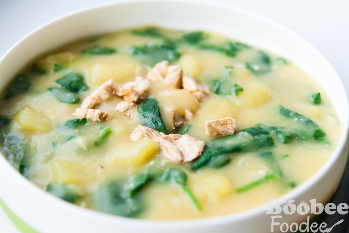 krompirjeva juha s piscancem in spinaco