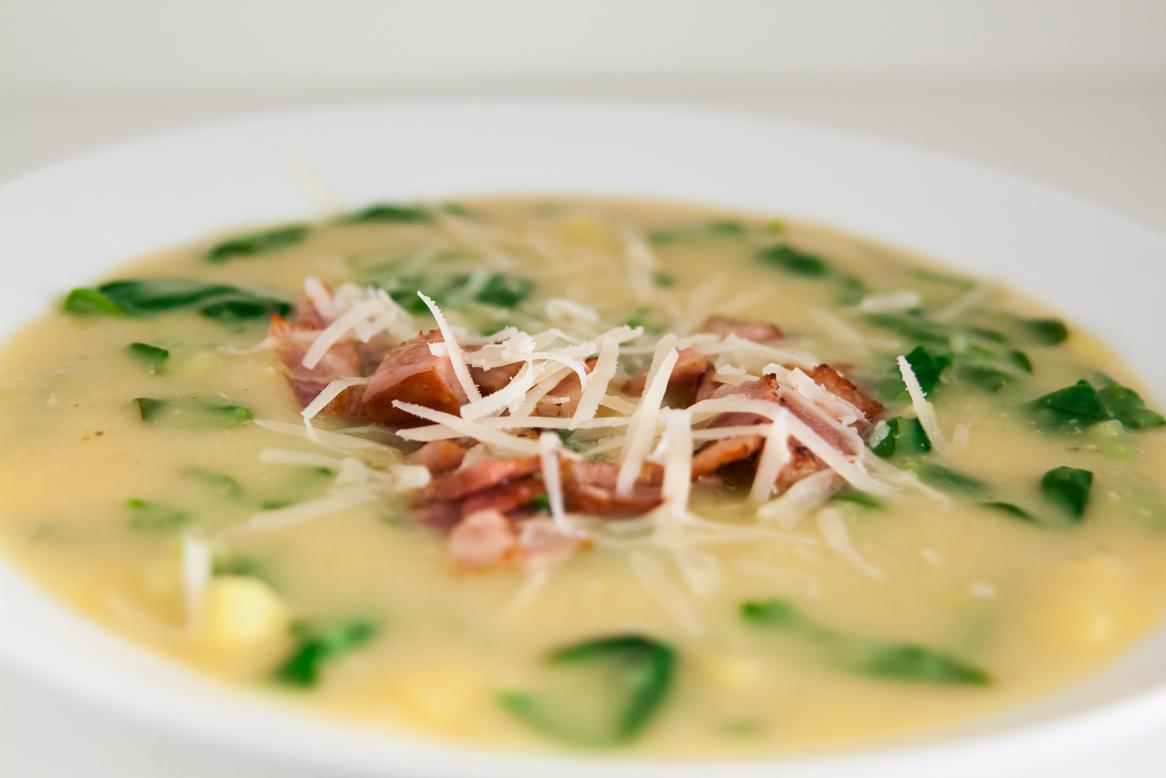 krompirjeva juha s spinaco